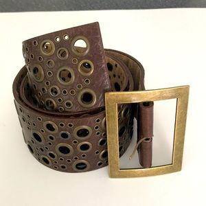 Wide Faux-leather brown belt for women